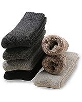 KOUTEI 靴下 メンズ ウール混 ビジネスソックス 6足セット 防臭 吸汗 無地 快適 おしゃれ 防寒 厚手 通気性抜群 リブソックス (ウール(34%) 6足組)