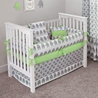 CUSTOM BOUTIQUE BABY BEDDING - Ele Green - 5 Pc Crib Bedding Set by Sofia Bedding