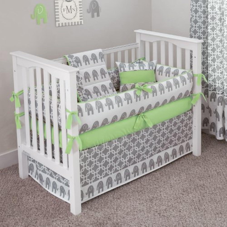 CUSTOM BOUTIQUE BABY BEDDING - Ele Green - 5 Pc Crib Bedding Set by Sofia Bedding
