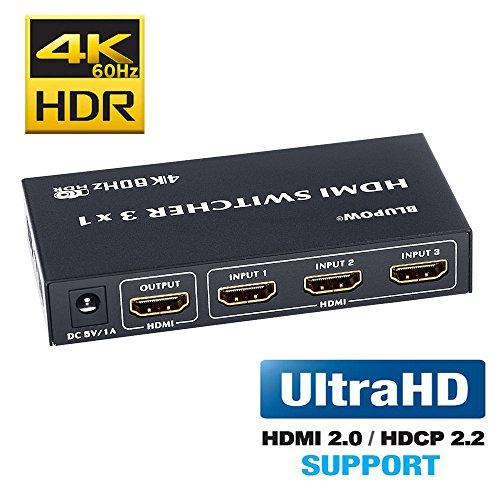 BLUPOW HDMI切替器 3入力1出力 4K 60Hz HDR 3D HDMI2.0 HDCP2.2対応 hdmiセレクター hdmiスイッチ PS4・Xbox・Blu-ray palyer・HD DVD・Fire TVなど対応 hdmi 切り替え3×1