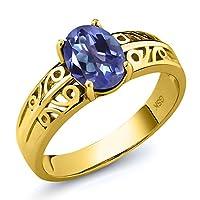 Gem Stone King 1.3カラット 天然 ミスティックトパーズ (タンザナイトブルー) シルバー925 イエローゴールドコーティング 指輪 リング