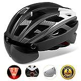 Shinmax自転車ヘルメット, LEDライト付きサイクルヘルメット 安全ライト付き自転車ヘルメット ゴーグル超軽量自転車ヘルメット アダルト自転車ヘルメット 取り外し可能なシールドサンバイザー付き (グレー白)