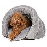 Pangu ベッド クッション ペット用ベッド 犬猫用ハウス ペット用寝袋 秋冬 洗える 保温防寒 暖かい休憩所 (M, グレー)