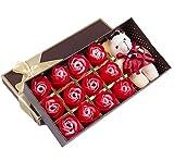 くま フラワー ソープ 花 薔薇 石鹸 プレゼント ローズ ベアー ぬいぐるみ ギフトボックス お祝い 誕生日 (レッド)
