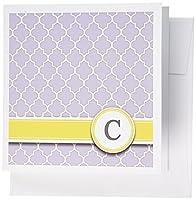 InspirationzStore Monograms–Your個人名初期文字C–モノグラムグレー四つ葉模様–カスタマイズイエローグレー–グリーティングカード Set of 6 Greeting Cards