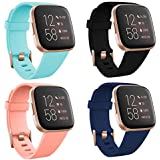 TECKMICO Fitbit Versa 2 Wristband,4-Pack Soft Sport Bands for Fitbit Versa/Versa 2/Fitbit Versa Lite with Rose Gold Watch Buckle for Women Gift