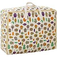綿のリネン収納袋のフクロウのパターン高品質のポータブル防湿トラベルオーガナイザー羽毛布団の衣服移動仕上げ荷物袋 (サイズ さいず : 49 * 40 * 24cm)