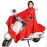 (ディフレコ) Difreco 《 雨の日 でも これで 快適 》 全身 すっぽり で 濡れない バイク 原付 自転車 用 ポンチョ レインコート (レッド)