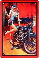 セクシーなピンナップガールタトゥーバイカーバイクガレージサービスRetro Tin Sign 20 x 30 cmシート153