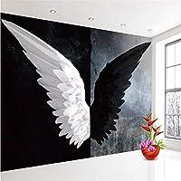 Ljjlm カスタム3D写真の壁紙北欧モダンクリエイティブブラックホワイトエンジェル翼アート壁画リビングルームの寝室の家の装飾-360X240CM