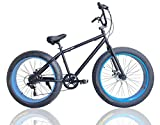 ファットバイク FAT BIKE 26インチ 7段変速ギア付き 自転車 (ブラック/ブルー)