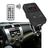 スマホ音楽を自動車 ワイヤレスで聴く!Bluetooth/FMトランスミッター/リモコン付き/ハンズフリー通話/スマホ音楽再生/SDカード/USBメモリ/MP3再生/カー/車日本語マニュアル付き/