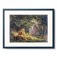 カール・フリードリヒ・レッシング Carl Friedrich Lessing 「The thousand years old oak tree.」 額装アート作品