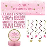 One Little Star Girl Party Pack: Banner with Stickers Dizzy Danglers and Centerpiece [並行輸入品]