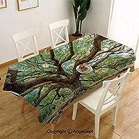 長い枝の田園風景の成長写真テーブルクロス テーブルカバー 綿麻 生地 耐熱 防油 北欧 食卓カバー タッセル ストライプ グリーン137 x 185自然ブラウングリーンとタイの壮大な雨木