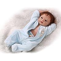 NPKDOLL リボーンベビードールハードシミュレーションシリコーンビニール22インチの55センチメートル磁気口リアルなアクリルの目でかわいい防水子供のおもちゃ青いドレスモヘア Reborn Baby Doll A1JP