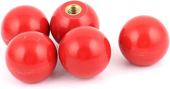 uxcell 握り玉 ボールノブ プラスチック製の球状レバー 金属糸 レッドノブ 直径30mm M8 x 28m