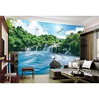 Mingld 森の滝カスタム自然の壁紙3Dルームの壁紙風景不織布E絵画壁紙-280X200Cm