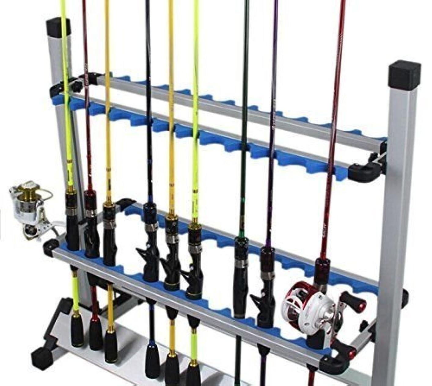 抱擁境界持ってるAmarine-made アルミロッドスタンド 24本掛 釣り竿スタンド 竿立て アルミ軽量 簡単な組み立て