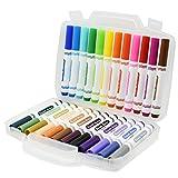 水性マーカー 水彩ペン BEADY 児童 学生 絵画ペン テーパーペン先 全24色セット 太筆 収納ケース付き 日本の伝統24種類