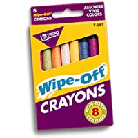 Wipe-off Crayons Regular 8/pk [Set of 3] by Trend Enterprises