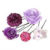 髪飾り Uピン5点セット ミニフラワー バラ 紫