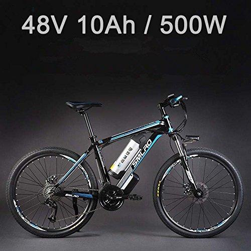 "26""48Vリチウム電池500Wアルミニウム合金電動自転車、27速電動バイク、MTB/マウンテンバイク、オイルディスクブレーキ採用 (10Ah黒靑)"