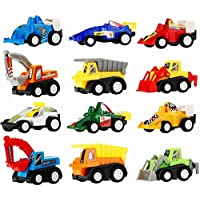 LEHIIトミカ ミニカート12台 セットミカ ミニカー カーズ 車おもちゃト建設車両 作業車両子供用 遊び工事車両セット 働く車 シリーズ (12カラー)