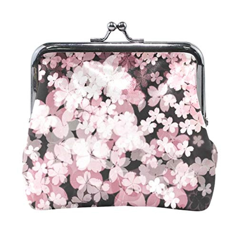 がま口 小銭入れ 財布 桜の花 コインケース レザー製 丸形 軽量 人気 おしゃれ プレゼント ギフト 雑貨