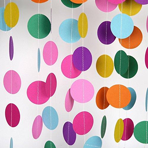 2個 ペーパー ガーランド カラフル 虹色 約8m / バースデー ウェディング 二次会 パーティー イベント 飾りつけ 装飾 デコレーション インテリア バースデー ウェディング 結婚式の飾り付け 幼稚園 保育園のデコレーション 写真道具背景(毎個4メートルの長さ) (丸い)