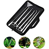 Hosmide Aquatic Plant Tweezers Scissor Spatula Tool Complete Set of 5 for Aquarium Tank Nourishing Stainless Steel 30cm Aquarium Accessories Terrarium Scaping Gravel Tools Set