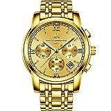 Smalodyメンズウォッチトップブランドの高級ファッションビジネスクォーツ時計メンズスポーツフルスチール防水腕時計 (ゴールド)