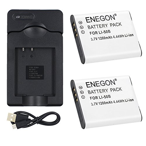 ENEGON Li-50B互換バッテリー(2個)&Micro USB充電器 Olympus Stylus SZ-10, SZ-12, SZ-15, 1010, 1020, 1030, 9000, 9010, SP-800UZ, SP-810UZ, SP-720UZiHS, VR-340, TG-610対応