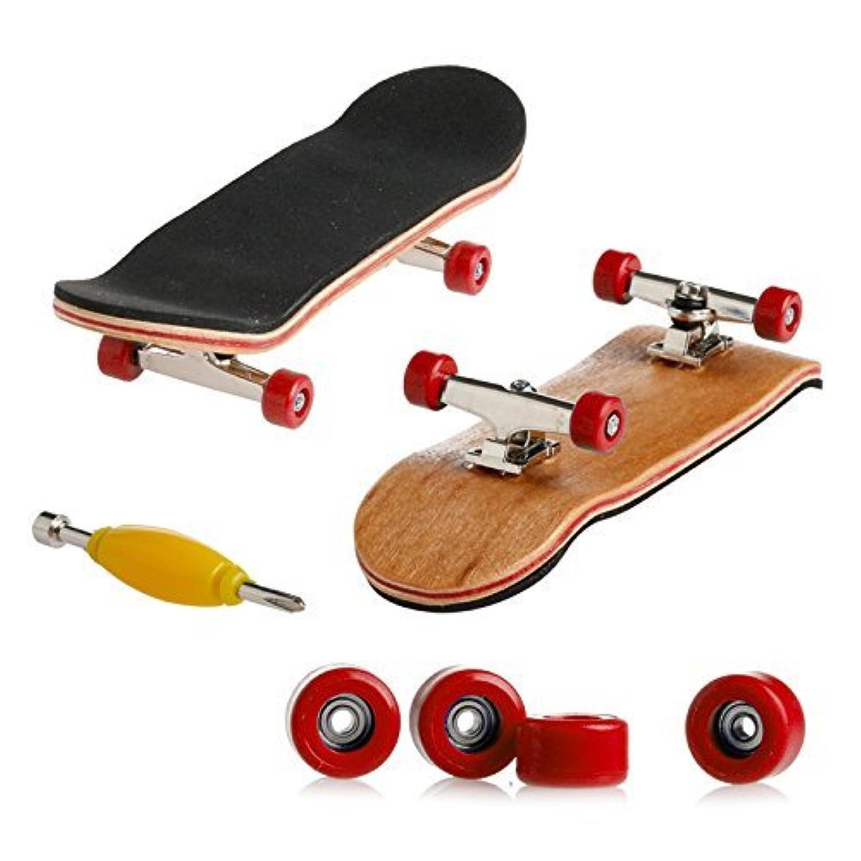 HC fan フィンガー ボード 指スケ スケートボード カナディアン メイプル材 子供 おもちゃ 贈り物 選べる 6 カラー (レッド ウィール)