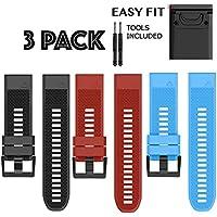 H.J.G SUPPLIES 26mm Easy Fit Silicone Replacement Watch Band Garmin Fenix 5X,Fenix 3 Quatix 3,Tactix Bravo,Foretrex 701, (Black-Blue-Red, 26mm)