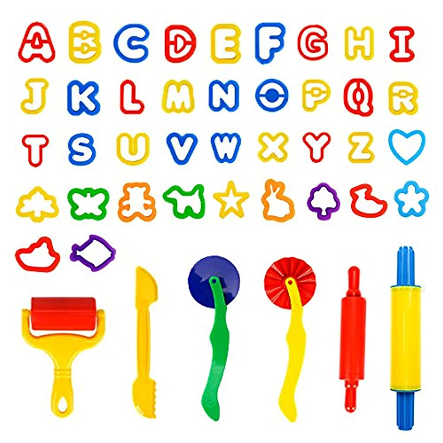 Spiel Kidsクレイand DoughツールキットwithモデルとMolds – 42個Play Doughカッターとモデリングツールwith Capital Letters Alphabet, Assortedカラー