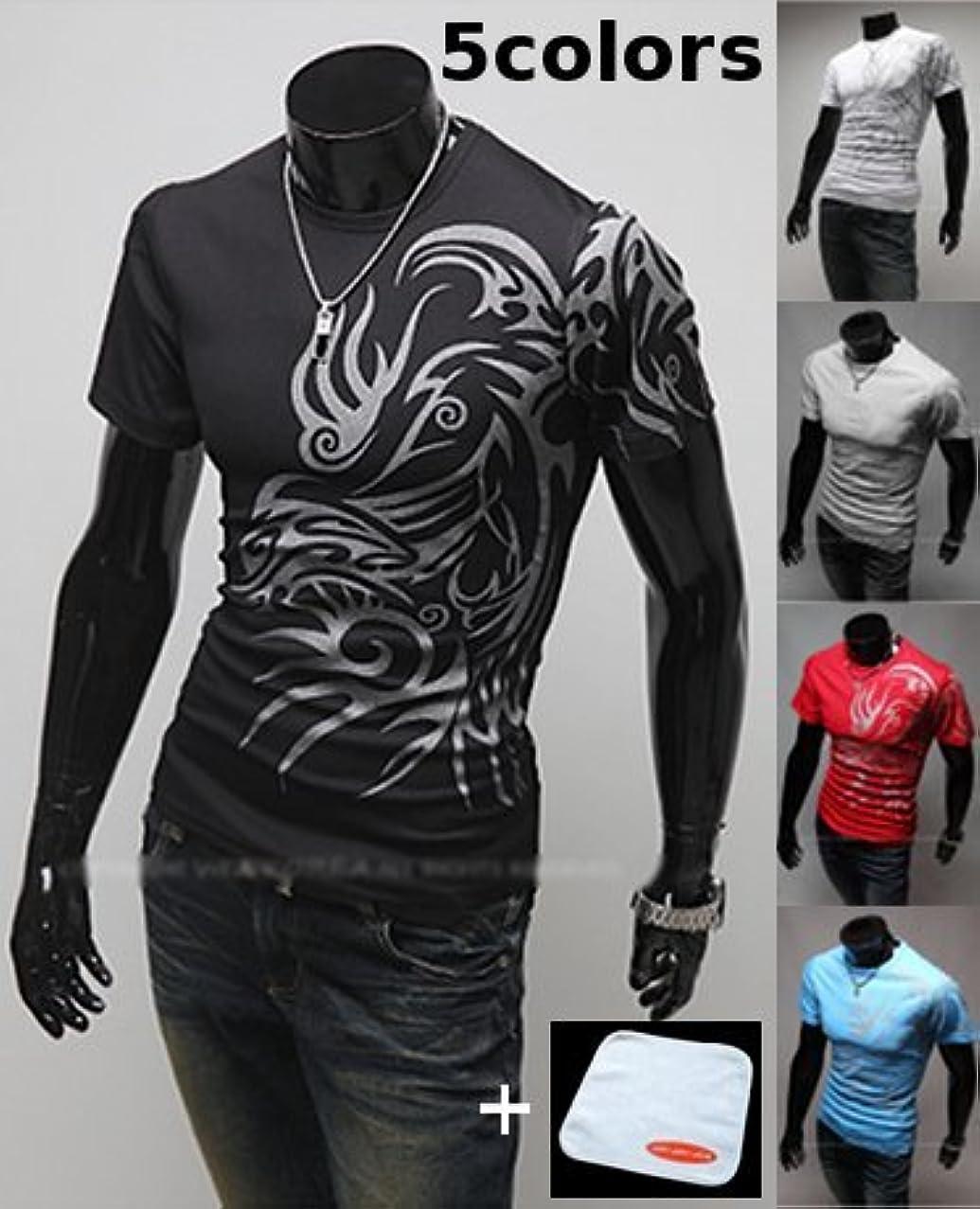 規制する飽和する盆(JOY JOY JOIN) ドラゴン プリント ちょいワル ファッション 半袖 Tシャツ カットソー おしゃれ ワイルド デザイン メンズ (5色選択 ブラック グレー ホワイト レッド ブルー) JOY JOY JOIN...