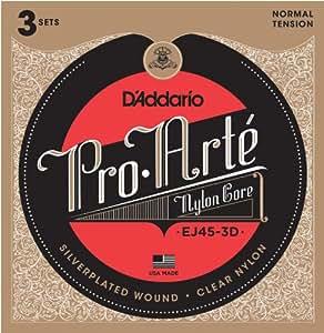 D'Addario ダダリオ クラシックギター弦 プロアルテ Silver/Clear Normal EJ45-3D 3set入りパック 【国内正規品】