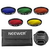 Neewer 58mm 5枚フルカラーレンズフィルターセット  58mmレンズスレッド付きのCanon DSLR カメラに対応 セット内容:青、緑、オレンジ、赤、黄色フィルター、フィルター用キャリングポーチ、センターピンチレンズキャップ