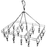 Anti-Wind Stainless Steel Drying Hanger Rack 20 Pegs Clip Laundry Clothesline Dryer for Socks Underwear Towel Scarves Short (Square)