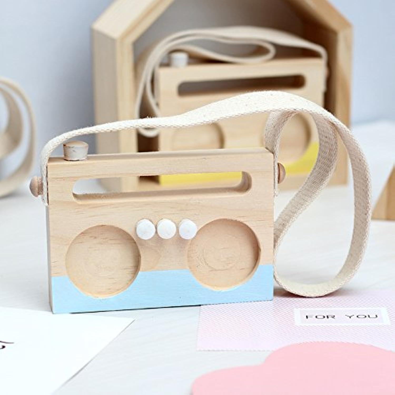 幼児期のゲーム 木製ラジオペンダント装飾装飾撮影プロップ(青)