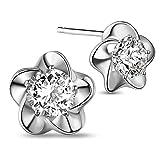 SHEGRACE シルバー925 AAAジルコン 梅の花 花型 プラチナ 純銀 スタッド イヤリング ジュエリー
