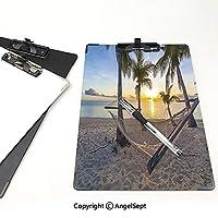 クリップボード A4サイズ対応 レンジップボード 熱帯の装飾 屋外スケッチポータブルスケッチクリップ (2パック)パラソルビーチハンモックと子の木の地平線の海岸の休暇の風景マルチ