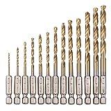 木工・樹脂用ドリル刃 ドリルセット チタンコーティングドリル 13本組