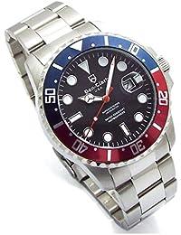 Don Clark 世界100本限定 ダイバーズウォッチ メンズ 腕時計 サイズ調整工具付 ロック式リューズ 回転ベゼル 日付表示 ブラック 青赤ベゼル DM2061-05 [並行輸入品]