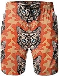 かっこいい猫 メンズ サーフパンツ 水陸両用 水着 海パン ビーチパンツ 短パン ショーツ ショートパンツ 大きいサイズ ハワイ風 アロハ 大人気 おしゃれ 通気 速乾