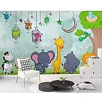 Wuyyii 現代の手描き漫画の動物の世界の子供たちの壁紙、リビングルームのテレビ壁キッズルームカスタム壁画-150X120Cm