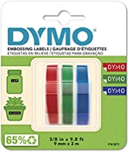 DYMO Plastic Embossing Labels for Embossing Label Makers Red, Green & Blue Labels 9mm x 3m, 3 C