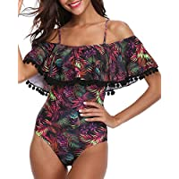 Tempt Me Women One Piece Flounce Swimsuit Pineapple Printed Off Shoulder Bathing Suit