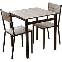 (DORIS) ダイニングテーブル 3点セット 【スクエア ブラウン】 テーブル&チェア(3点セット) 2人掛け 幅:70cm 組み立て式